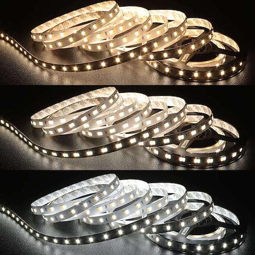 Ruban LED teinte variable avec un ou deux LED allumées.