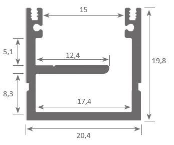 Barre LED plat haut 2 mètres étanche carré large