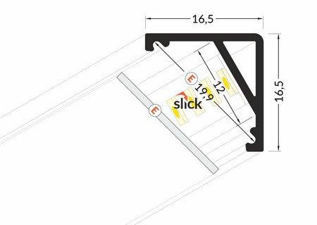 Dimensions profilé LED Oblique fin