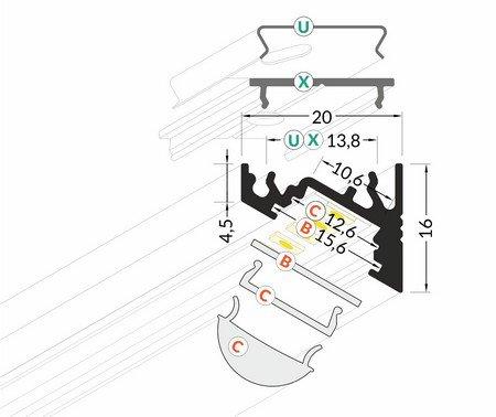 Dimensions profilé LED oblique