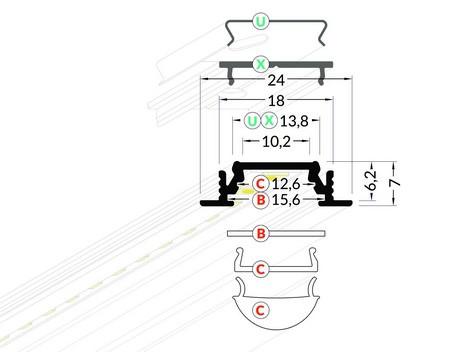 Dimensions profilé LED à encastrer