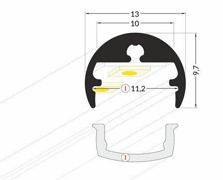 Dimensions profilé LED tube