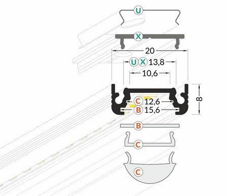 Dimensions profilé LED plat